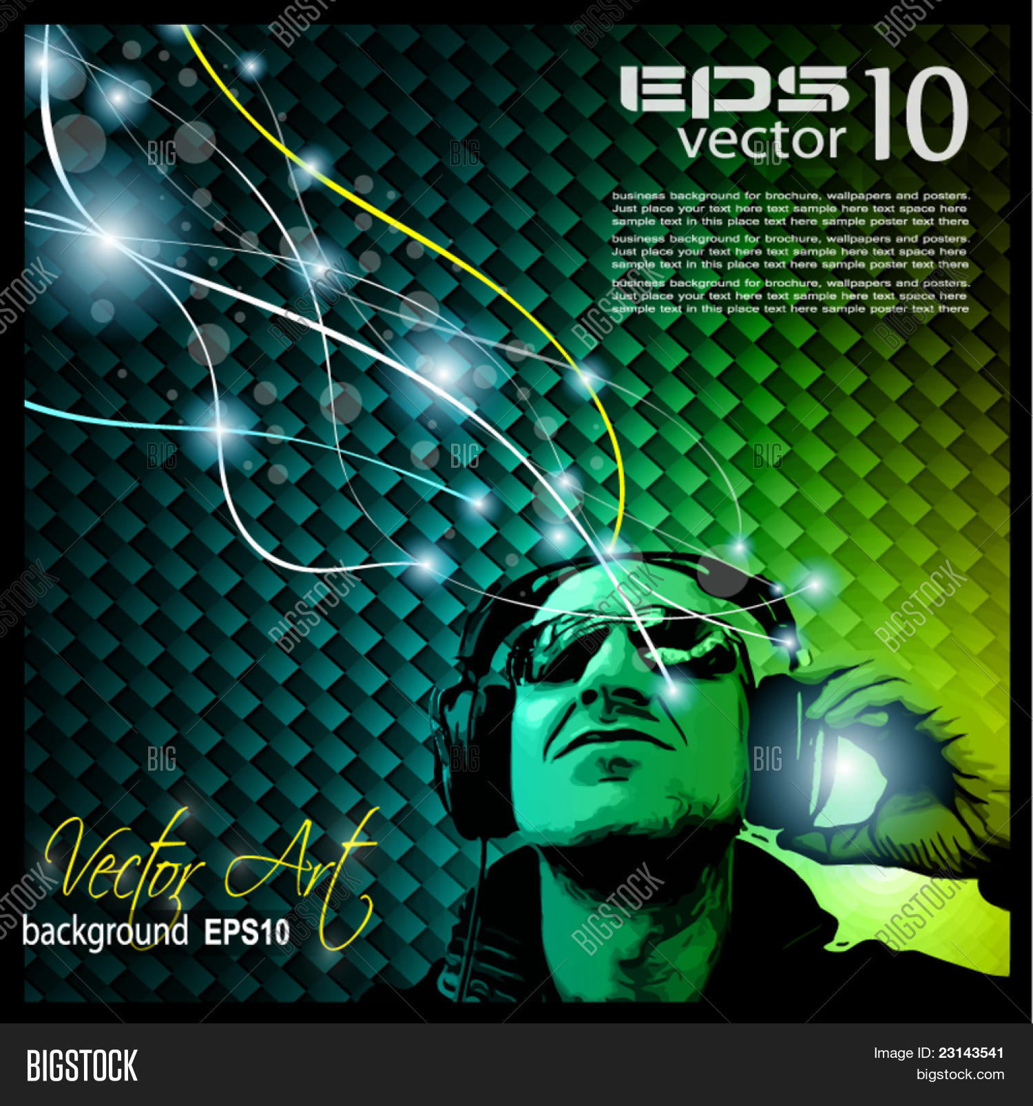 Disco Music Flyer With Disk Jockey Shape And Rainbow Lights Ready For Poster Of Night Create A Lightbox
