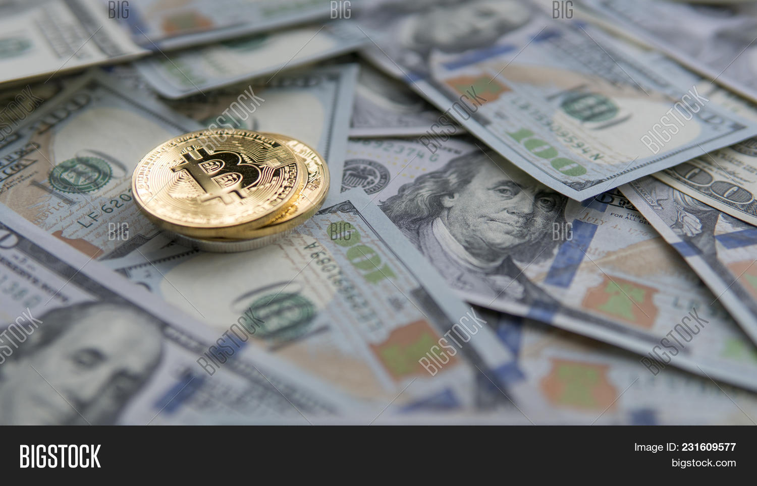 Two Golden Bitcoins On Image & Photo (Free Trial) | Bigstock
