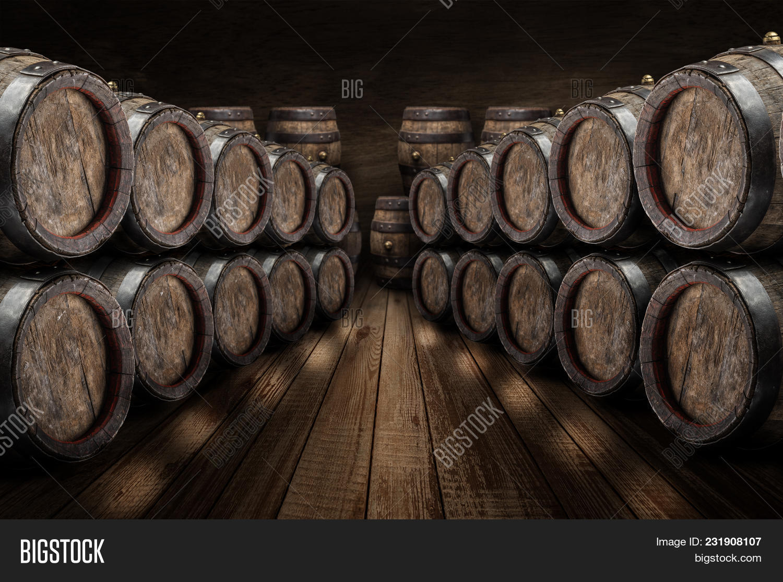 Oak Wine Barrels Wine Cellar Old Image Photo Bigstock