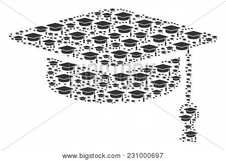 Graduation Cap Figure Combined In The Group Of Graduation Cap Pictograms. Vector Iconized Collage Cr