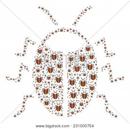 Bug Figure Combined In The Figure Of Bug Design Elements. Vector Iconized Composition Constructed Wi