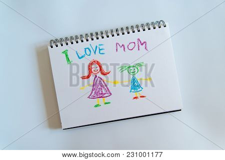 I Love Mom Picture For Happy Mother Day. Children Gift