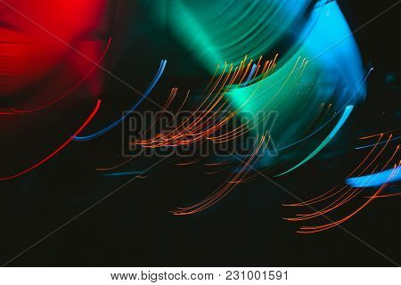 Abstract Background Of Night Light  Long Exposure Shot