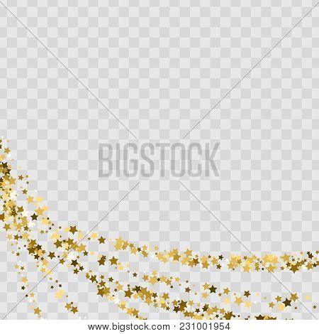 Confetti Cover From Gold Stars. Swirl Path Like Corner Vignette.