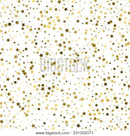 Abstract White Modern Seamless Pattern With Gold Stars. Vector I