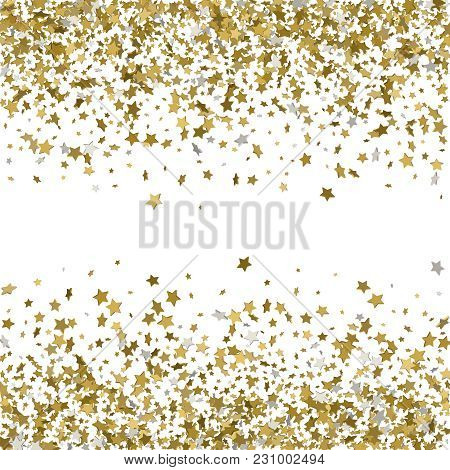 Abstract Pattern Of Random Falling Gold Stars On White Backgroun