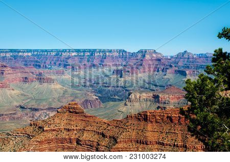 View Of Grand Canyon's Southern Rim From Mather Point