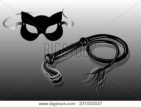 Fetish And Bondage Stuff For Role Playing And Bdsm: Carnival Fetish Cat Mask And Leather Whip, Vecto