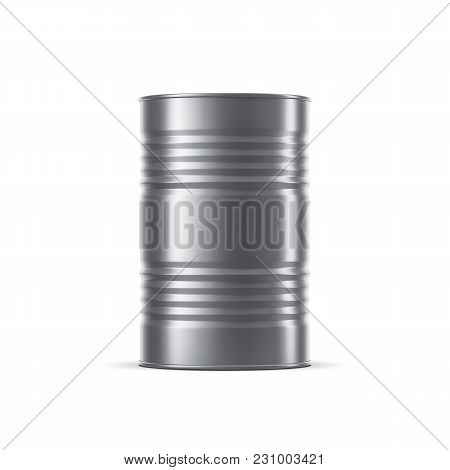 Metal Barrel Mockup, Stainless Steel Tin Can For Oil And Petroleum. 3d Rendering
