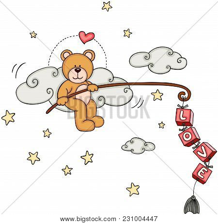 Scalable Vectorial Representing A Cute Teddy Bear Fishing For Love, Element For Design, Illustration