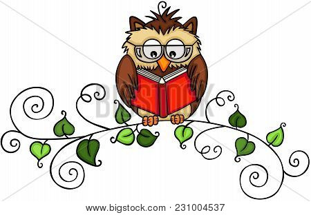 Scalable Vectorial Representing A Owl Reading A Book On Branch, Element For Design, Illustration Iso