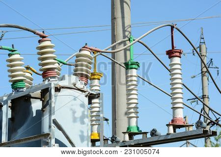 Substation And High Voltage Wires With Insulators