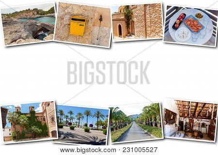 The Collage From Views Of Palma De Mallorca, Spain. Collage Travel Spain Palma De Mallorca On A Whit