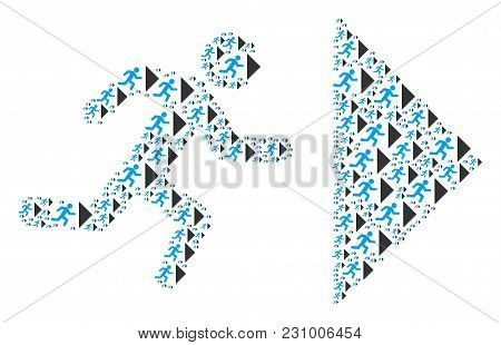 Exit Direction Collage Designed In The Shape Of Exit Direction Icons. Vector Iconized Collage Compos