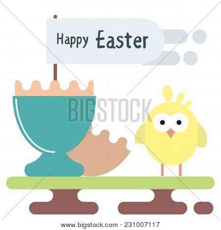 Vector Flat Illustration Of Newborn Chicken With The Egg Shell With Flag In The Egg Stand. Easter Gr