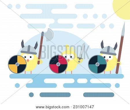 Set Of Vector Chicken Characters Stylized As A Viking Warrior With Various Weapons. Modern Flat Illu