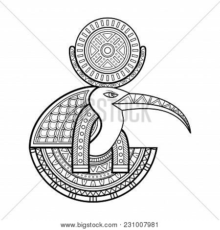 Vector God Of Ancient Egypt. Thoth. Isolated Objects On White Background