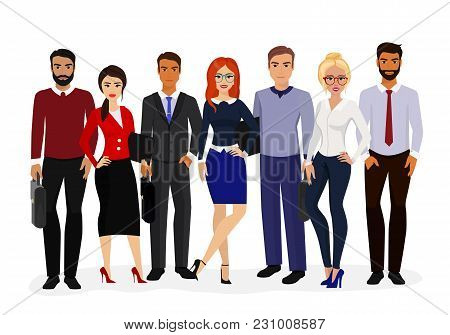Vector Illustration Of Cool Vector Set Of Business Characters. International Business Team, Beautifu