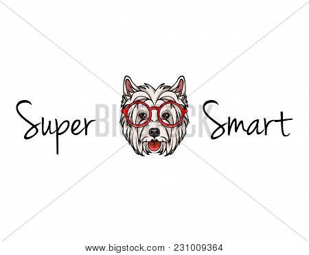 West Highland White Terrier Geek. Dog In Red Smart Glasses. Vector Illustration. Supet Smart Text.