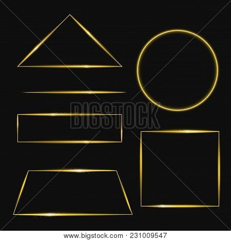 Vector Illustration Set Of Golden Frame With Lights Effects In Different Shapes. Shining Rectangle B