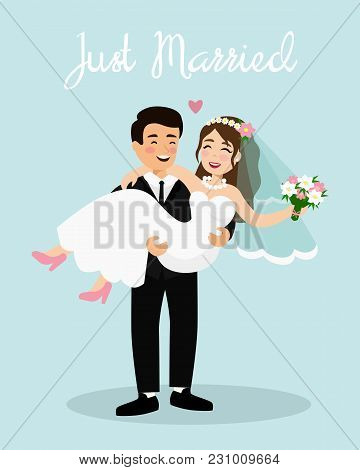 Vector Illustration Of Wedding Couple Bride And Groom. Just Married Couple, Happy Groom Is Holding B