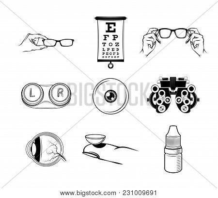 Ophthalmologist Icons Set. Oculist Logo Label Emblem. Eye, Lens, Glasses Vector Illustration