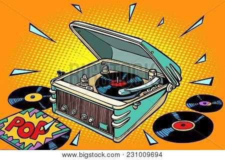 Pop Music, Vinyl Records And Gramophone. Comic Book Cartoon Pop Art Illustration Retro Drawing