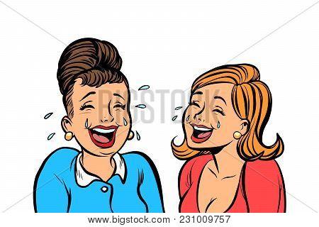 Joyful Girlfriends Women Laugh Isolate On White Background. Comic Book Cartoon Pop Art Retro Vector