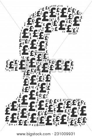 Pound Sterling Pattern Combined In The Collection Of Pound Sterling Elements. Vector Iconized Collag
