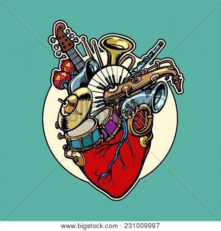 Music Education, Heart Love Instruments. Comic Cartoon Pop Art Illustration Retro Vintage Kitsch Vec