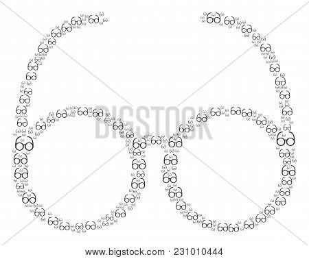 Spectacles Pattern Created In The Set Of Spectacles Elements. Vector Iconized Collage Composed From