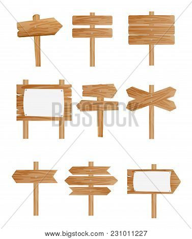 Vector Illustration Set Of Different Wooden Street Signs, Pointers Collection On White Background In