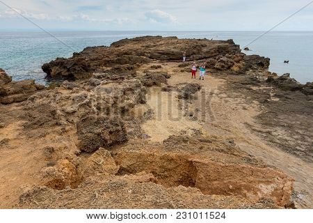 Zakynthos, Greece - September 28, 2017: Sea Coast In Agios Nikolaos, Zakynthos Island, Greece