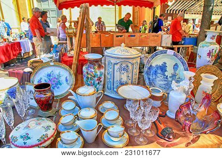 Nice, France - May 13,2013: Market Stall At The Famous Antique Market Cours Saleya In Nice, French R