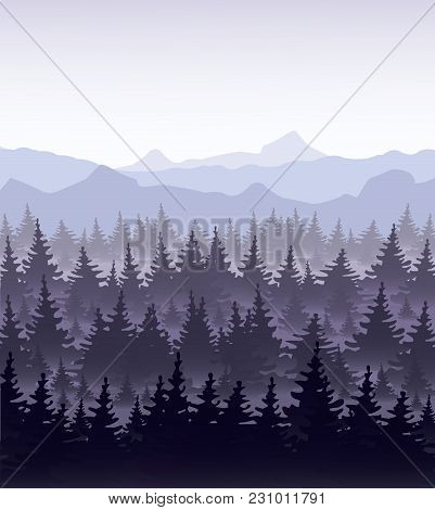 Vector Illustration Of Pine Forest In Fog On Mountains Background. Coniferous Forest, Fir Silhouette
