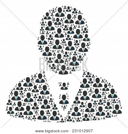Manager Pattern Made In The Group Of Manager Pictograms. Vector Iconized Composition Composed With S
