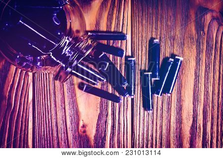 Jar Of Fountain Pen Ink Refill Cartridges On Wooden Background. Back To School, World Writers Day, F