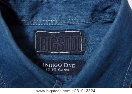 Blue Denim Shirt With Empty Label On Collar