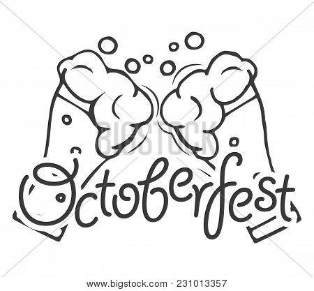 Beer Festival Poster Or Flyer Template. Two Beer Glasses. Vector Illustration. Octoberfest Logo Labe