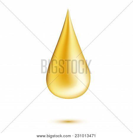 Vector Realistic Oil Drop. 3d Yellow Liquid. Healthcare, Scincare Natural Organic Cosmetics Symbol.