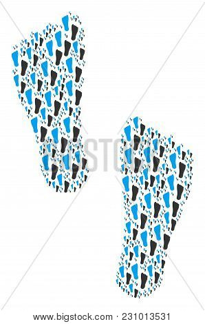 Human Footprints Illustration Constructed In The Group Of Human Footprints Elements. Vector Iconized