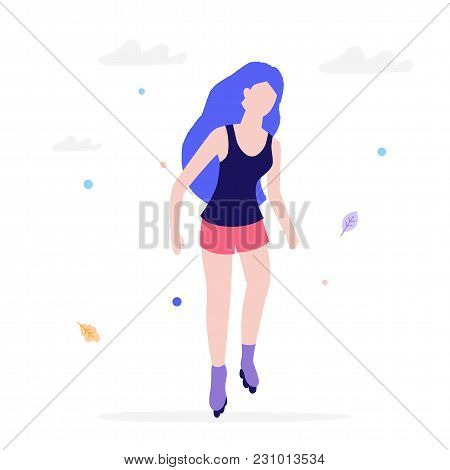 Girl Roller Skating Flat Illustration Isolated On A White Background. Young Woman Rides In Rollers I