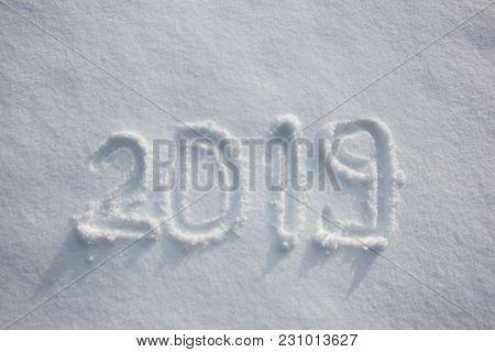 Handwritten New Year 2019 In A Fresh Snow