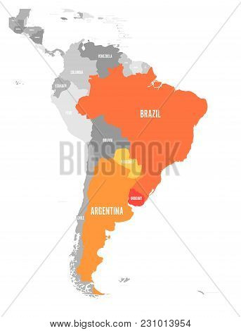 Map Of Mercosur Countires. South American Trade Association. Orange Highlighted Member States Brazil