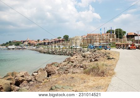 Nessebar, Bulgaria - June 12, 2011: View Of The Bay, The Seafront And Part Of The Ancient Fortress W