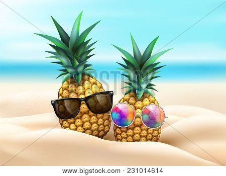 Pineapple In Sunglasses In Beach Sand On Seaside Background. Realistic Funny Fruit 3d Tropical Pool