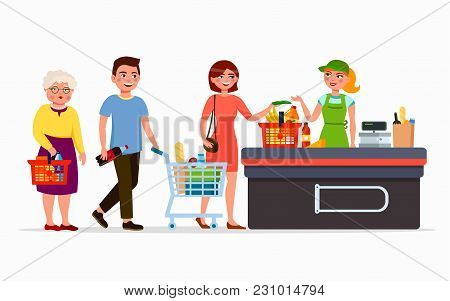 Various Flat People At The Supermarket Buying Products At The Cashbox With Cute Cashier. Men And Wom