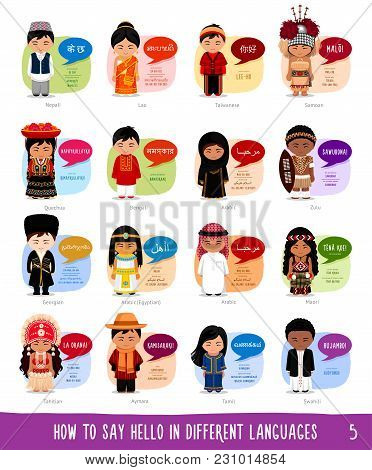 Cartoon Characters Saying Hello In Different Languages: Nepali, Lao, Taiwanese, Samoan, Quechua, Ben