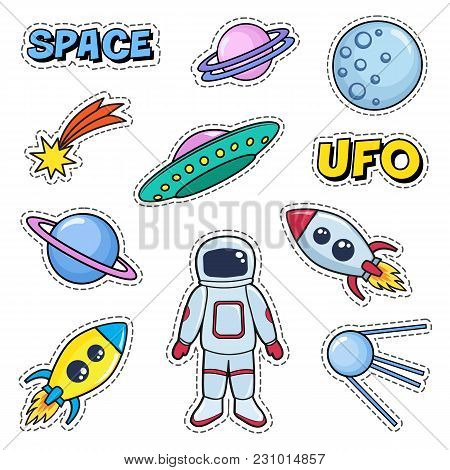 Patches Cute Set With Space Cosmonaut Planets Rockets Spaceships Moon Ufo Comet Satellite And Stars.