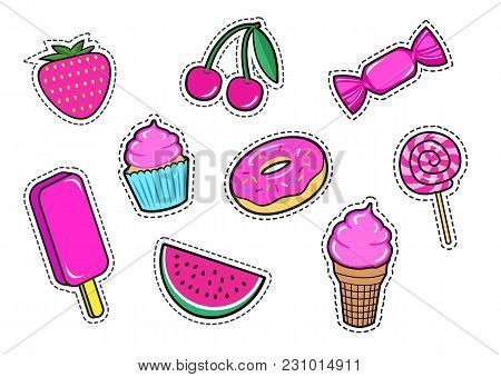 Set Of Cute Sweet Food Fashion Patches, Candy, Strawberry, Ice-cream, Donut, Watermelon, Cherry, Cup